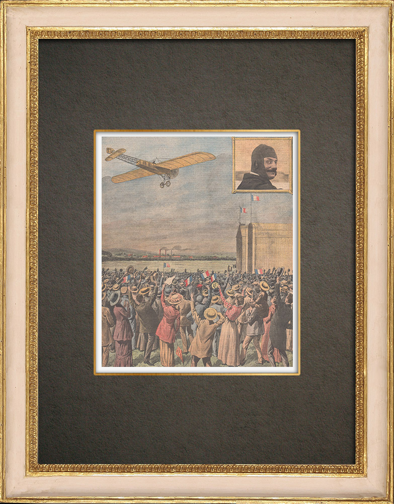 Antika Tryck & Ritningar   Ankomsten av vinnaren av ett flygkapplöpning i Issy-les-Moulineaux - Frankrike - 1910   Träsnitt   1910