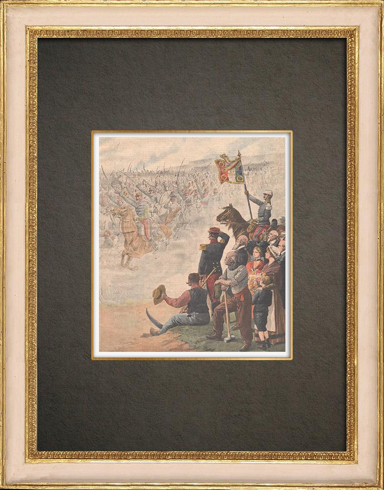 Antique Print & Etching   Hommage an die Soldaten der Schlacht von Sedan in Floing - Frankreich - 1910   Holzstich   1910