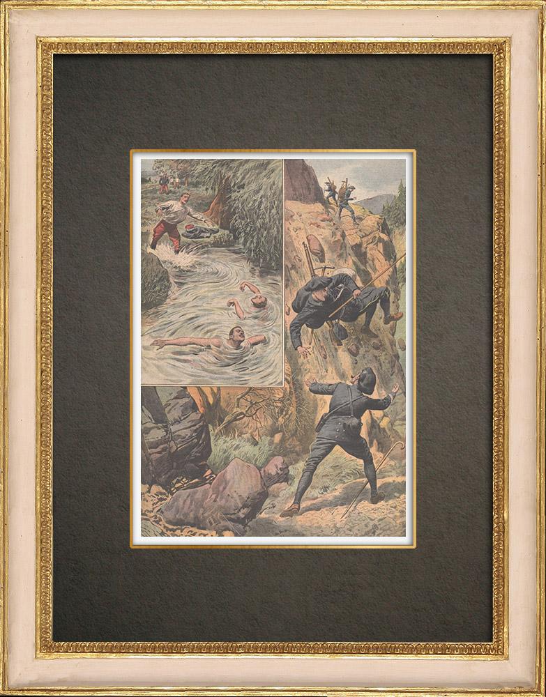 Gravures Anciennes & Dessins | Héroisme et dévouement dans l'armée française - 1910 | Gravure sur bois | 1910