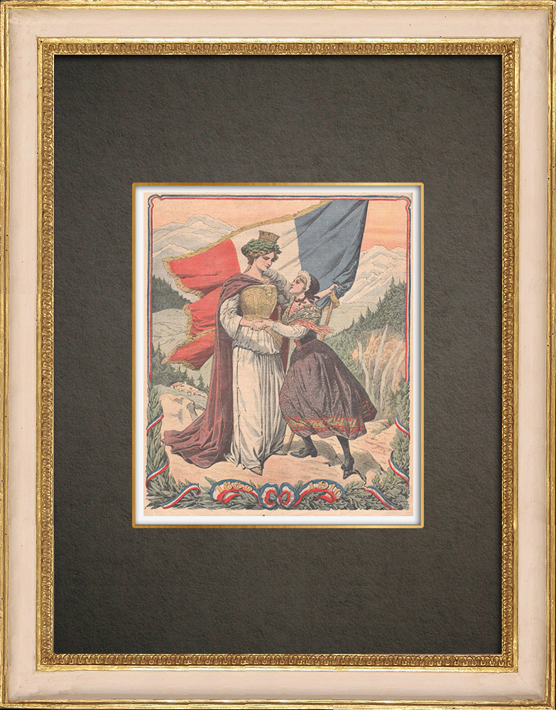 Antique Print & Etching   Gedenken an die Annexion Savoyens an Frankreich - 1910   Holzstich   1910