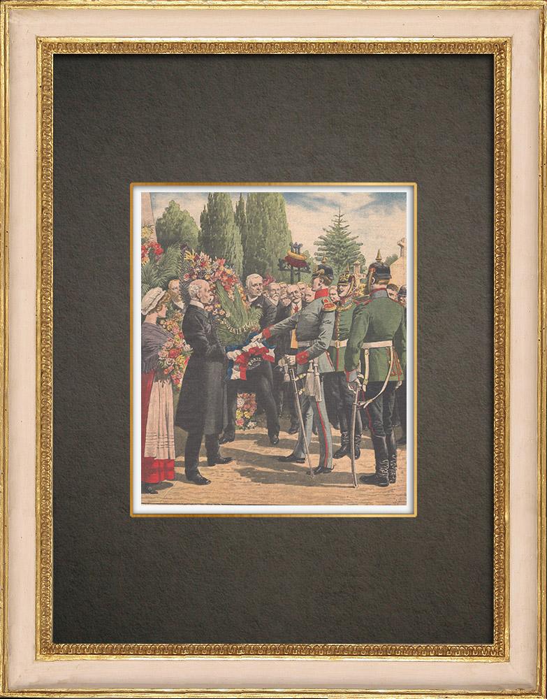 Stampe Antiche & Disegni | Il nastro tricolore proibito sulle tombe dei soldati francesi - Metz - 1910 | Incisione xilografica | 1910