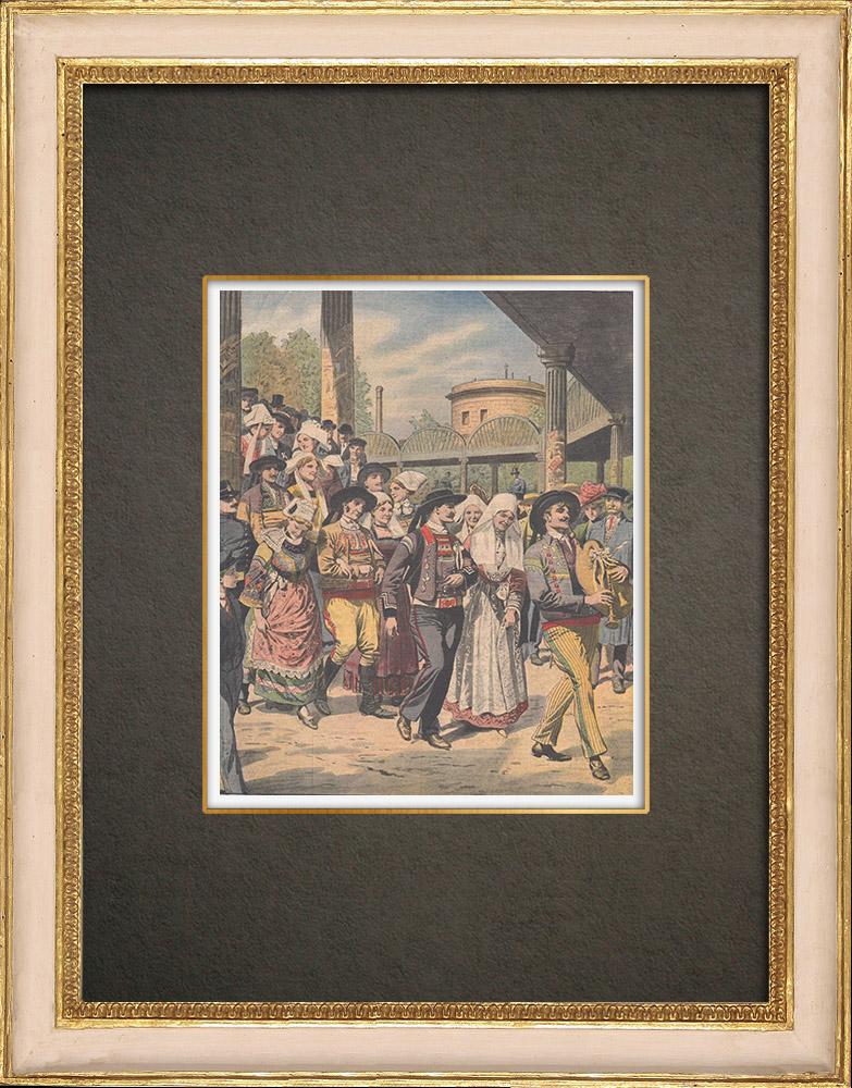 Antique Prints & Drawings | Breton wedding procession in Paris - France - 1910 | Wood engraving | 1910