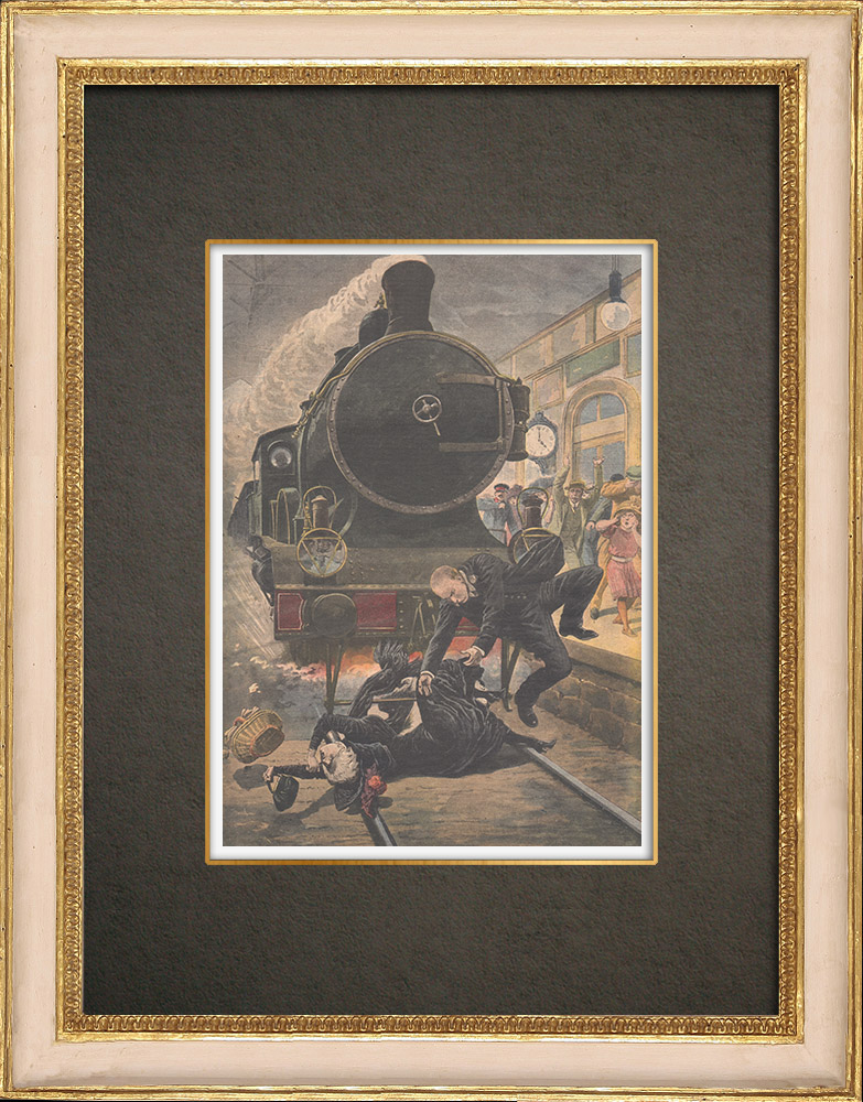Antique Prints & Drawings | Railway accident in Creil - France - 1910 | Wood engraving | 1910