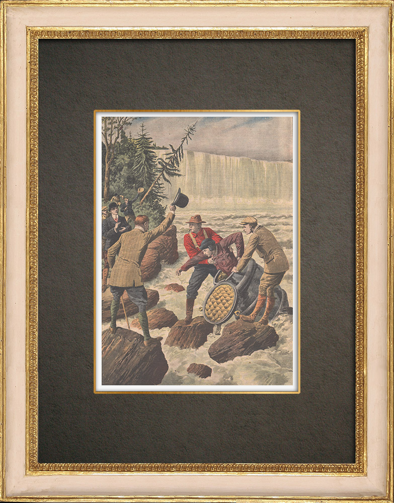 Antique Prints & Drawings | A man crosses Niagara Falls in a barrel - 1910 | Wood engraving | 1910
