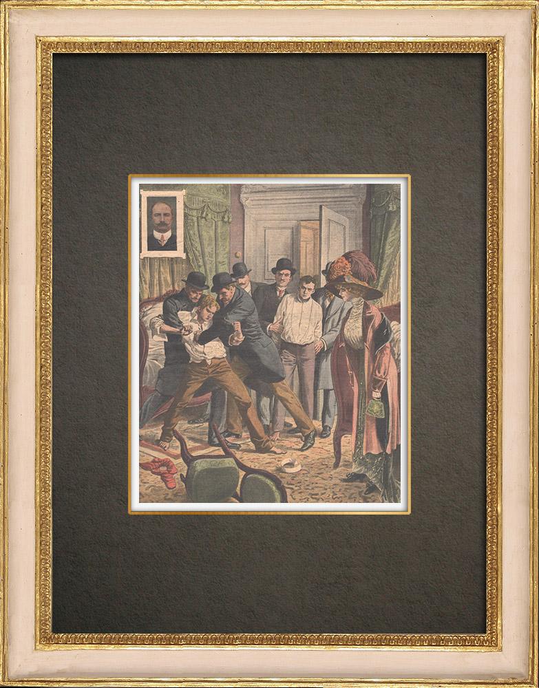 Antika Tryck & Ritningar | Två unga mördare arresterade i Paris - 1910 | Träsnitt | 1910