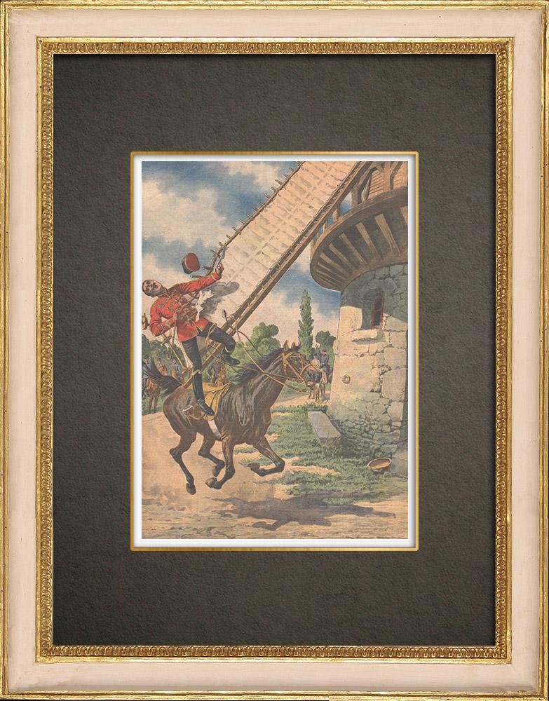 Antika Tryck & Ritningar | Tysk officer dödad av väderkvarn i Großbeeren - Tyskland - 1910 | Träsnitt | 1910