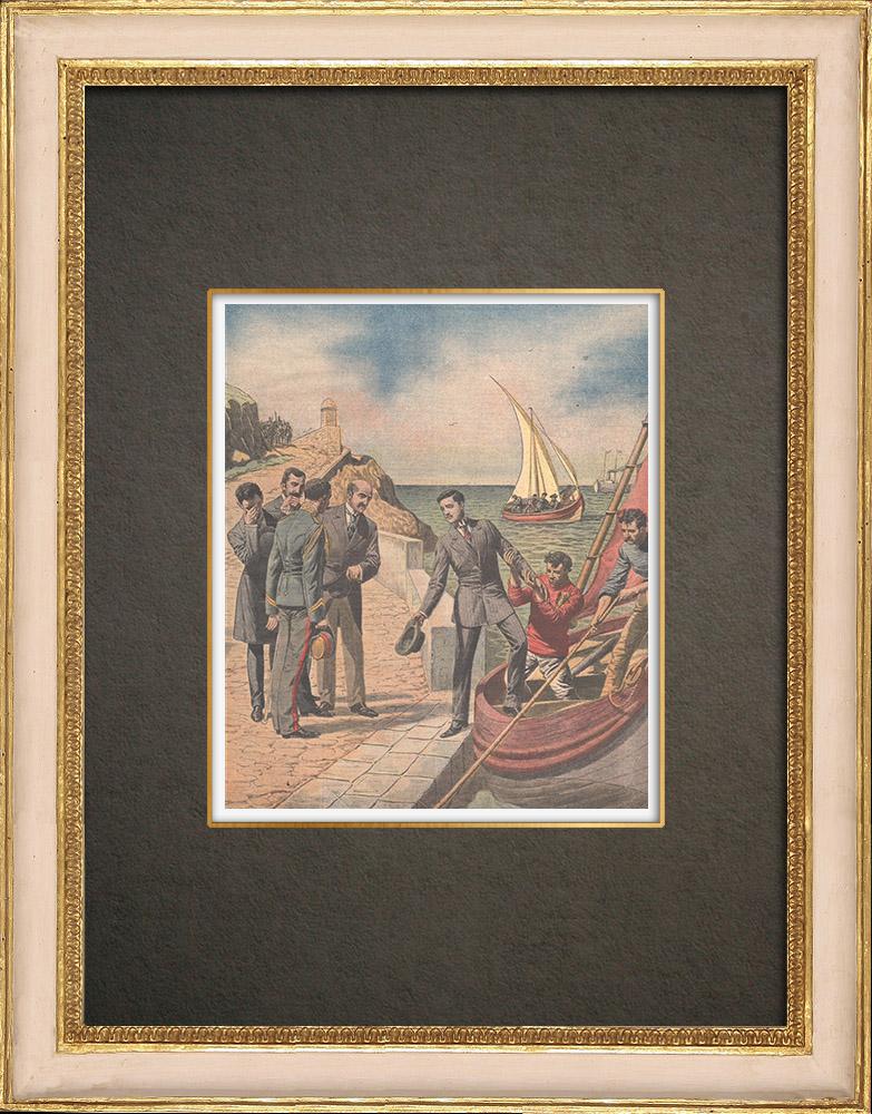 Antika Tryck & Ritningar | Portugisiska revolutionen - Kung Manuel II exiles i Gibraltar - 1910 | Träsnitt | 1910