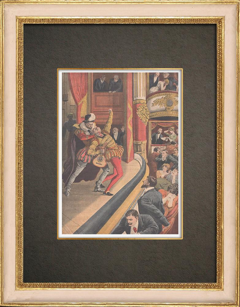 Stampe Antiche & Disegni | Assassinio in un teatro di Cartagena - Spagna - 1910 | Incisione xilografica | 1910