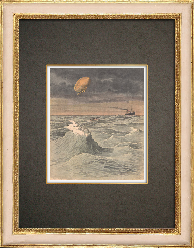 Gravures Anciennes & Dessins | Naufrage d'un dirigeable tentant la traversée de l'Atlantique - Caroline du Nord - 1910 | Gravure sur bois | 1910