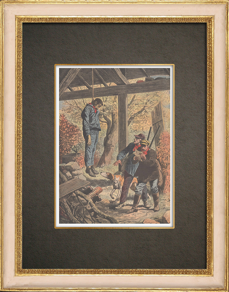 Antique Prints & Drawings | Suicide of a non-striking worker in Eragny - France - 1910 | Wood engraving | 1910