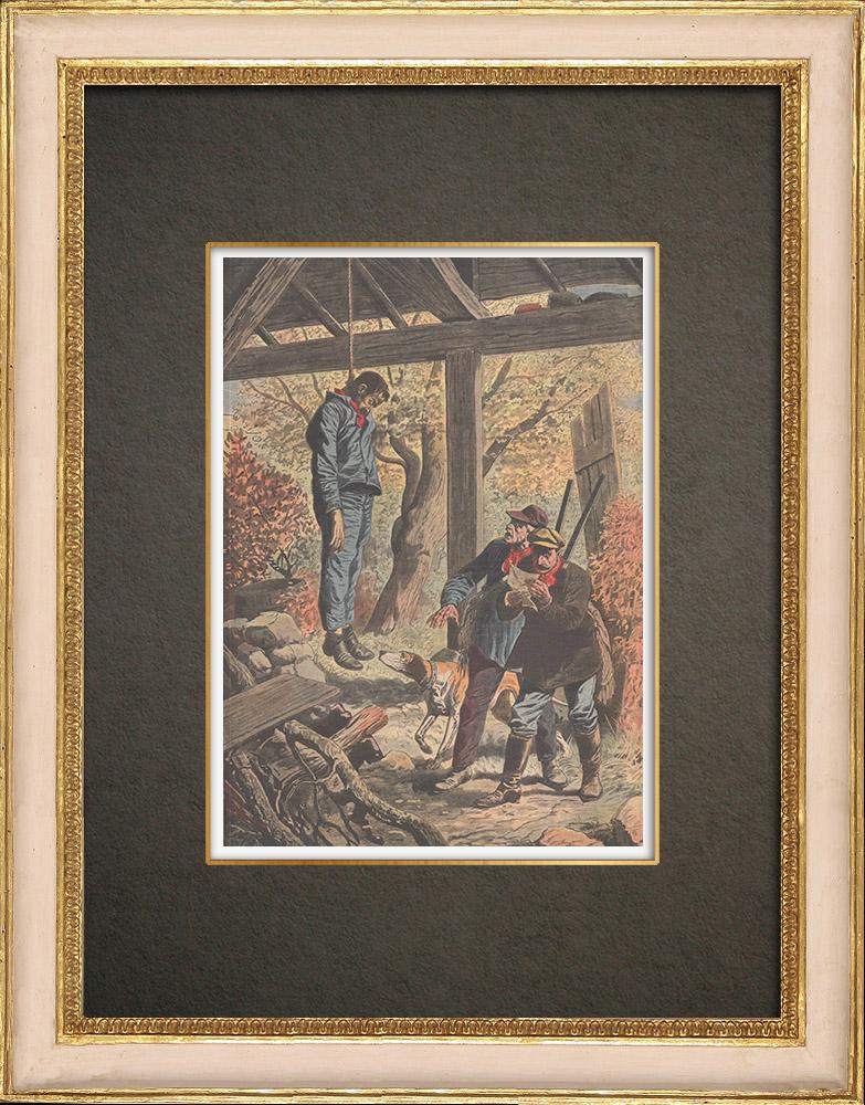Antika Tryck & Ritningar | Självmord på en icke-strejkarbetare i Eragny - Frankrike - 1910 | Träsnitt | 1910