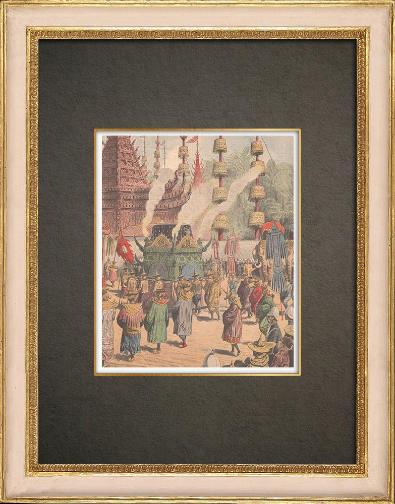 Stampe Antiche & Disegni | Morte di Chulalongkorn, Re del Siam - Cerimonia alla Pagoda - Siam - 1910 | Incisione xilografica | 1910