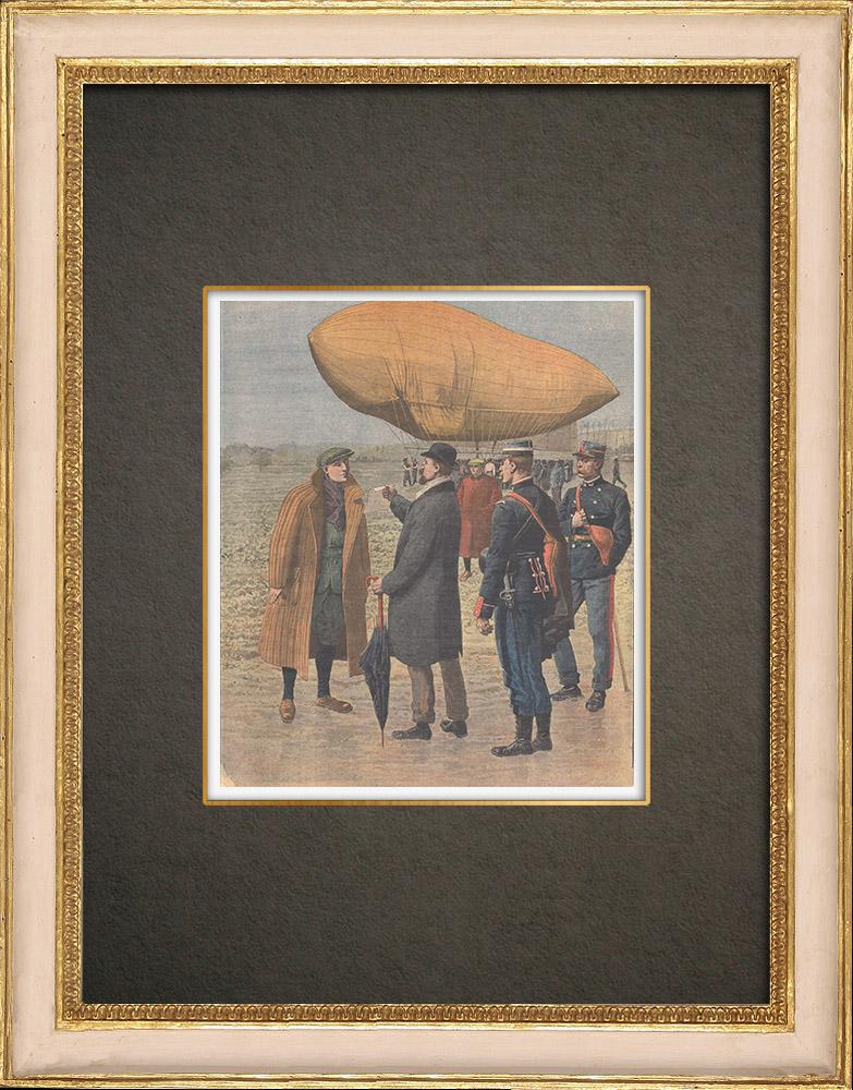 Gravures Anciennes & Dessins | Aventure d'un aéronaute anglais atterri à Corbehem - France - 1910 | Gravure sur bois | 1910