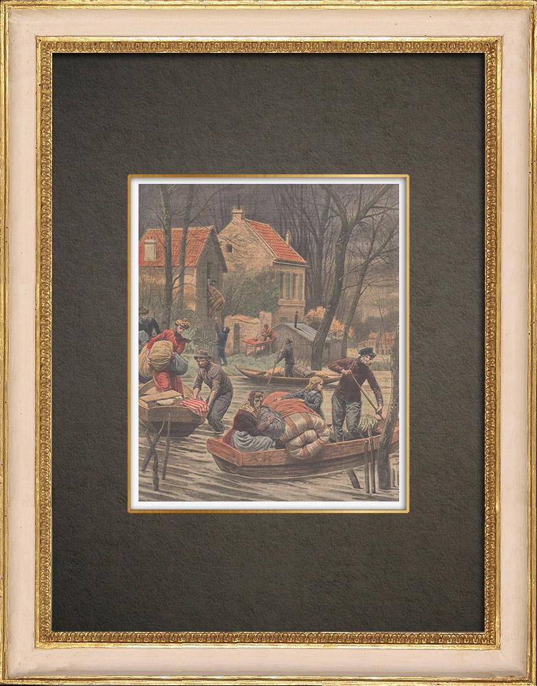 Antika Tryck & Ritningar | Nya översvämningar i Paris - 1910 | Träsnitt | 1910