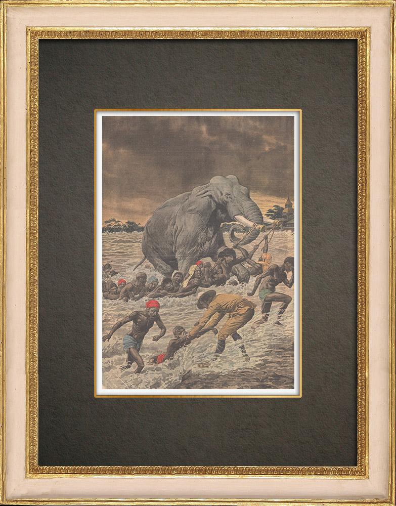 Stampe Antiche & Disegni | Inondazioni in India - 1910 | Incisione xilografica | 1910