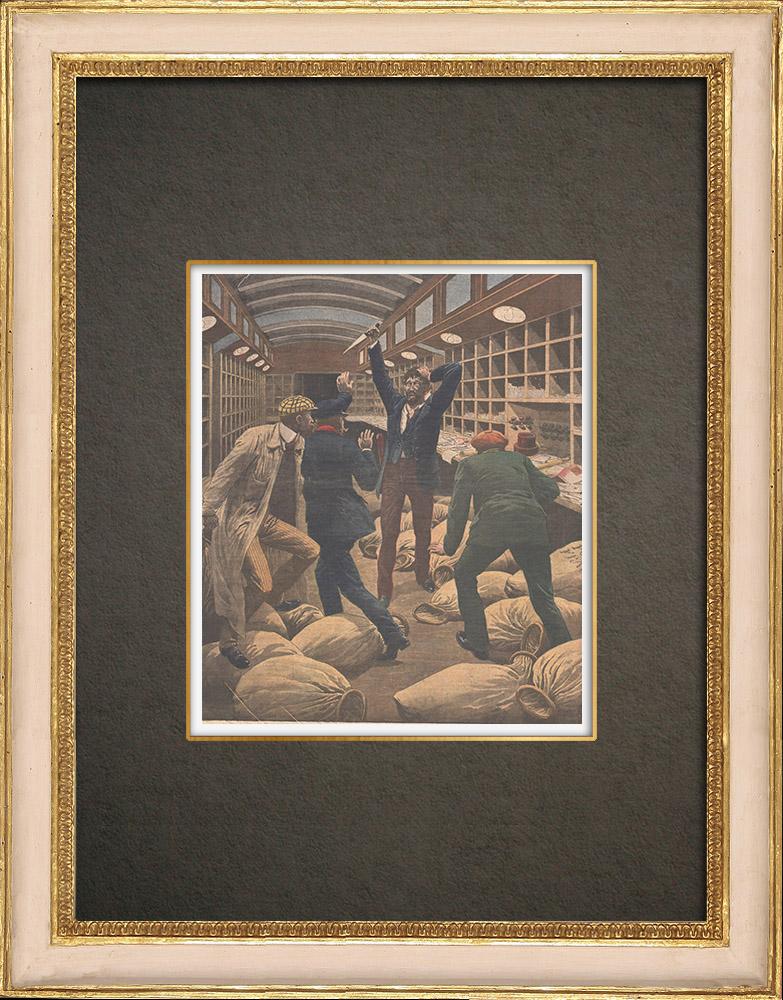 Antika Tryck & Ritningar | En man som blev galen i ett posttåg anländer till Paris - 1910 | Träsnitt | 1910