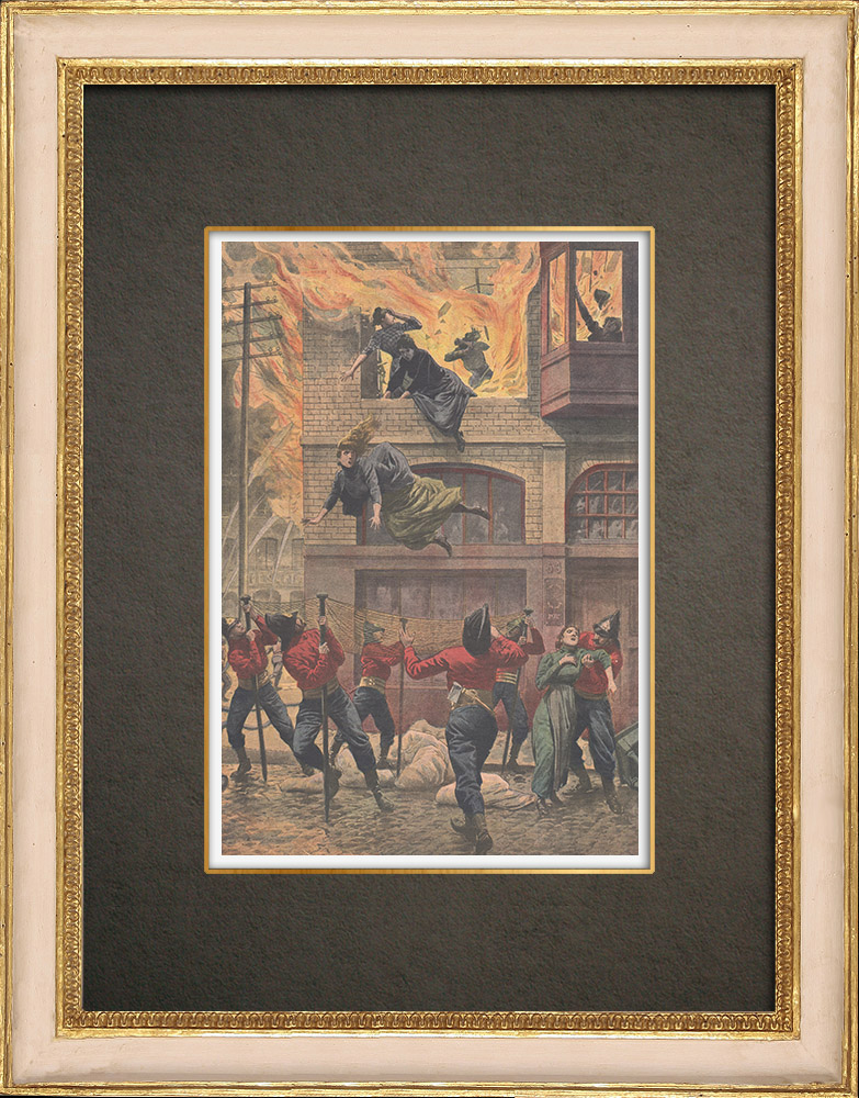 Antique Prints & Drawings | Burning of a cardboard factory in Newark - United States of America - 1910 | Wood engraving | 1910
