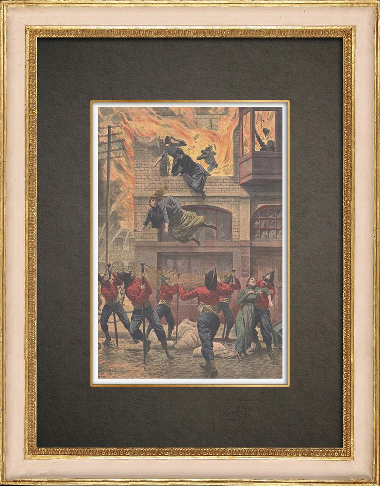 Antique Print & Etching | Feuer in Karton Fabrik im Newark - Vereinigten Staaten von Amerika - 1910 | Holzstich | 1910