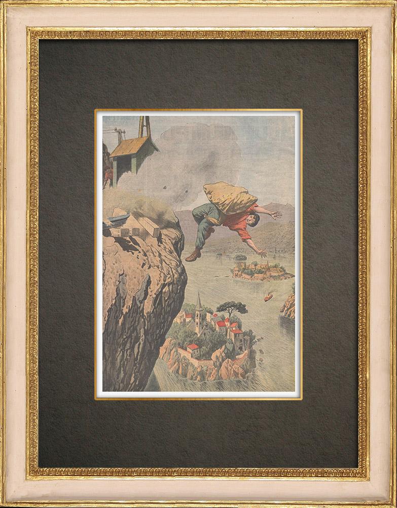 Antika Tryck & Ritningar | En arbetare faller i Garda-sjön nära Tremosinine - Italien - 1910 | Träsnitt | 1910