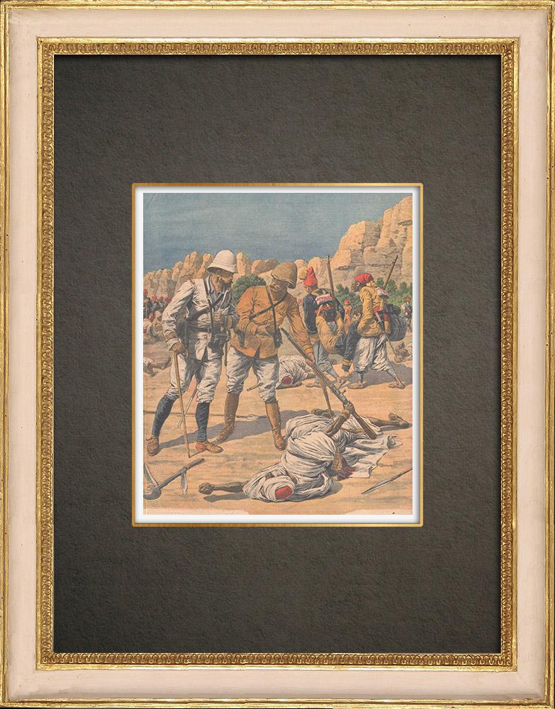 Antika Tryck & Ritningar   Franska soldater som dödades i ett eldöverfal i Bir Taouil - Tchad - 1910   Träsnitt   1910