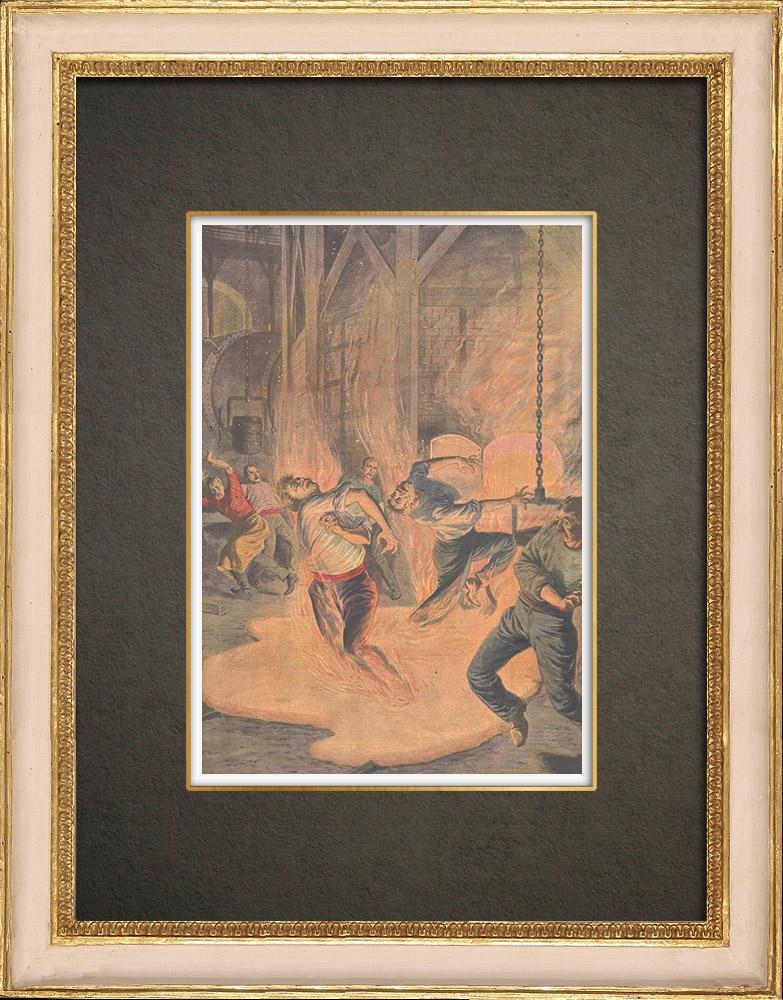 Antika Tryck & Ritningar | Drama in en Bochum-melter - Tyskland - 1910 | Träsnitt | 1910