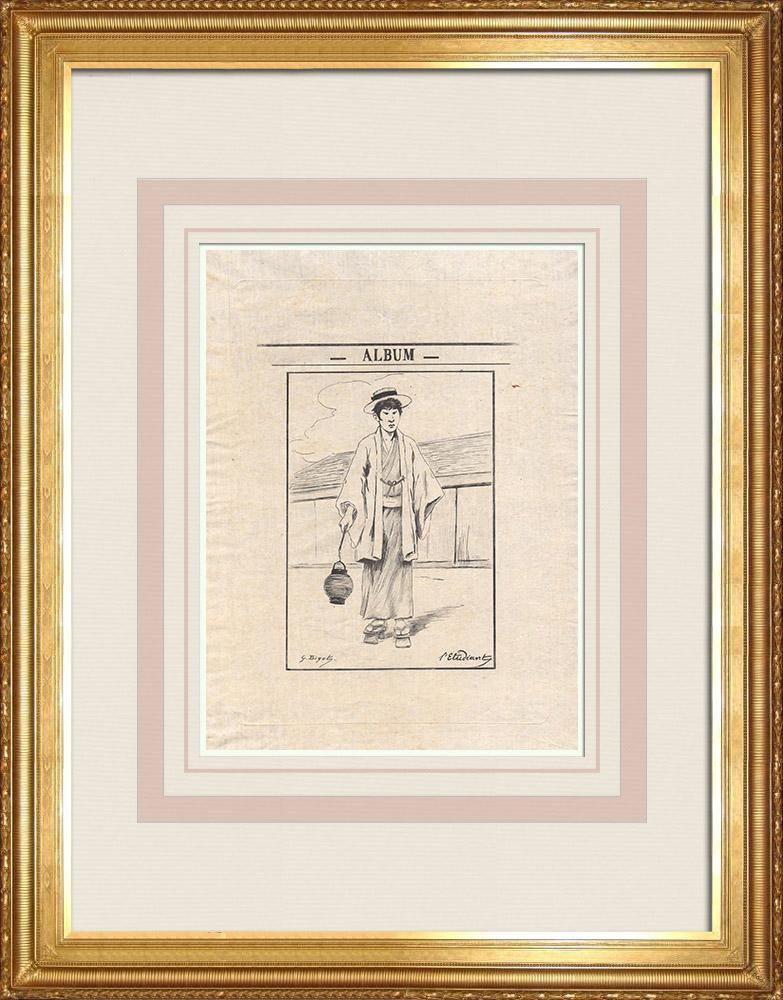 Grabados & Dibujos Antiguos | Un estudiante japonés (Japón) | Grabado al aguafuerte | 1886