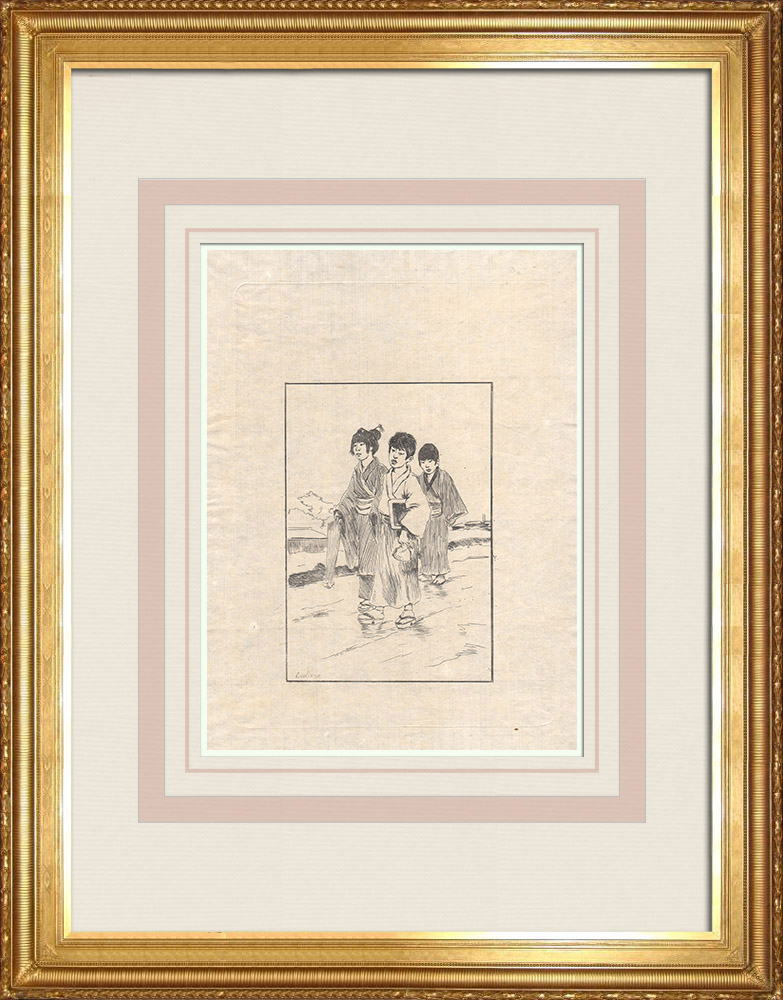Antique Print & Etching | Die Japanische Schulkinder (Japan) | Ätzradierung | 1886