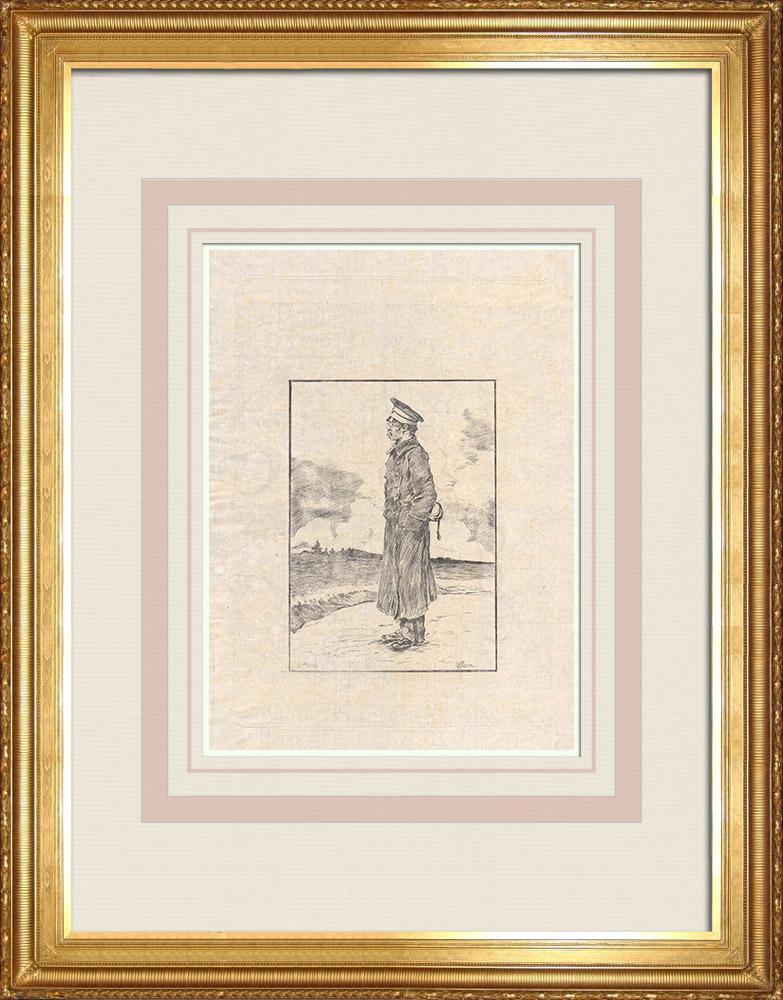 Antika Tryck & Ritningar | En japansk officer (Japan) | Etsning | 1886