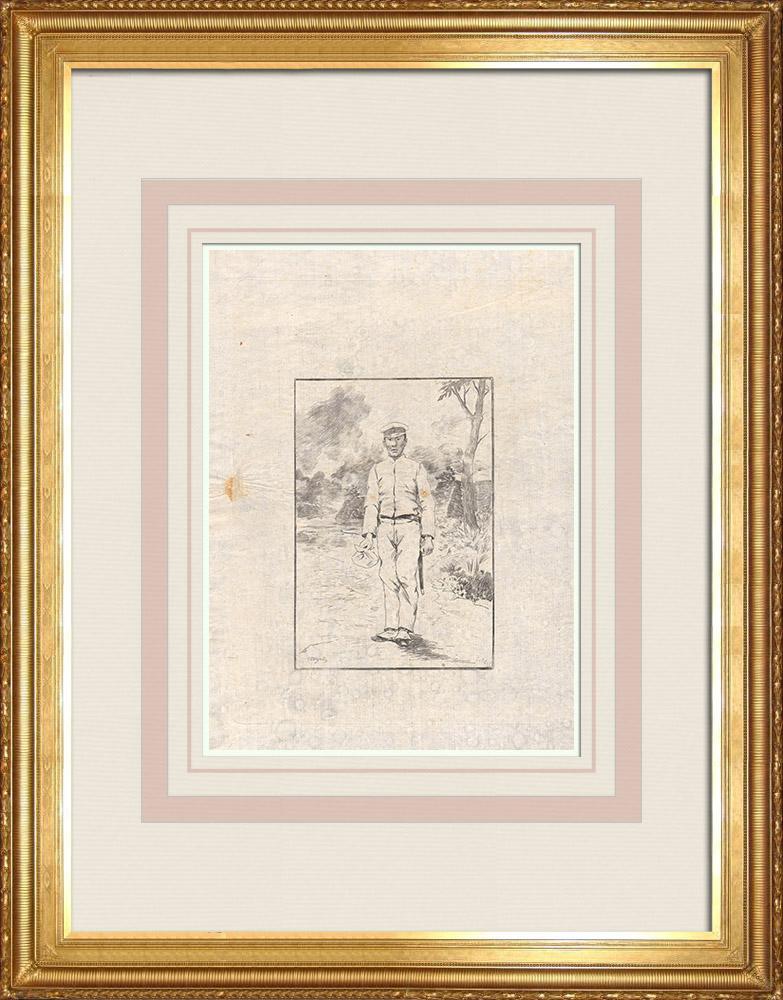 Stare Grafiki & Rysunki | Japoński żołnierz (Japonia) | Akwaforta | 1886