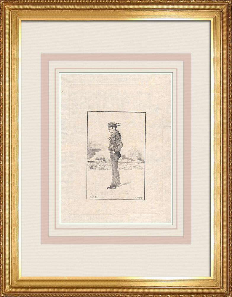 Antique Print & Etching | Ein Japanische Seemann (Japan) | Ätzradierung | 1886