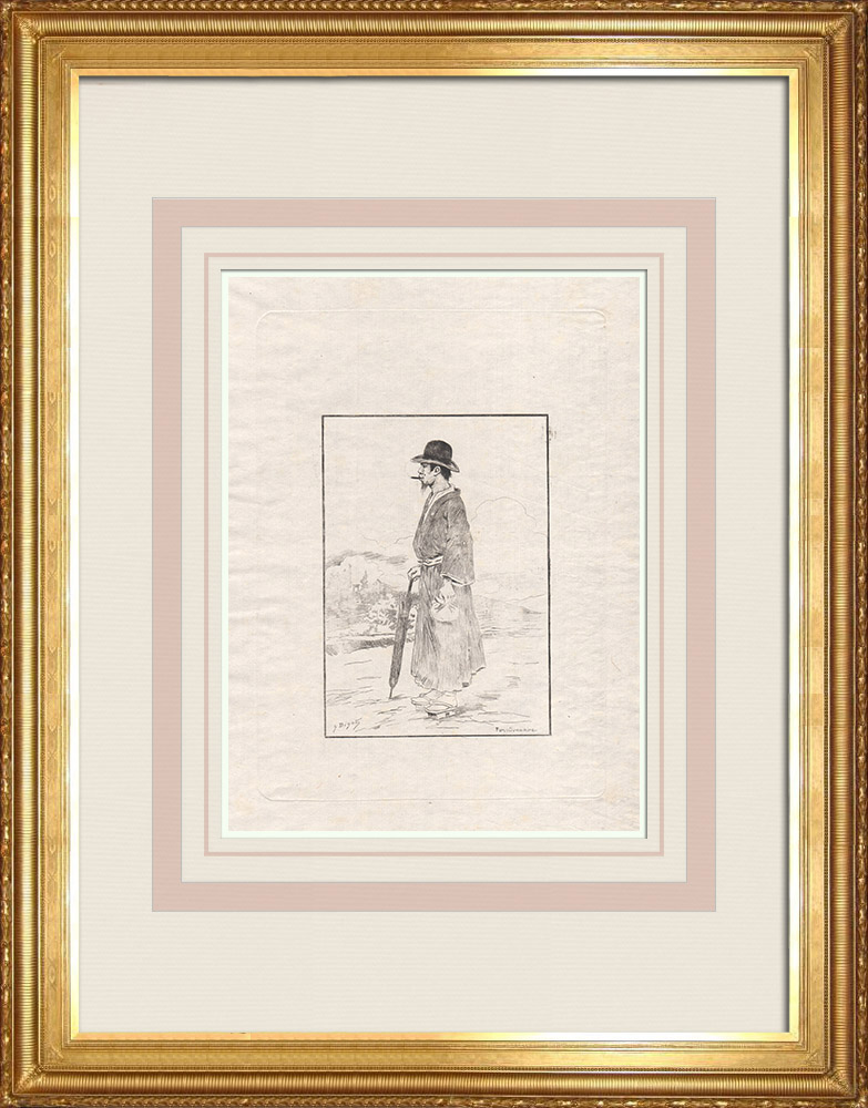 Stare Grafiki & Rysunki | Japoński Urzędnik Państwowy (Japonia) | Akwaforta | 1886