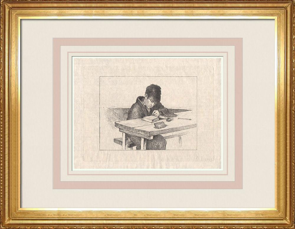 Antika Tryck & Ritningar | Ett japanskt barn som läser en bok (Japan) | Etsning | 1886