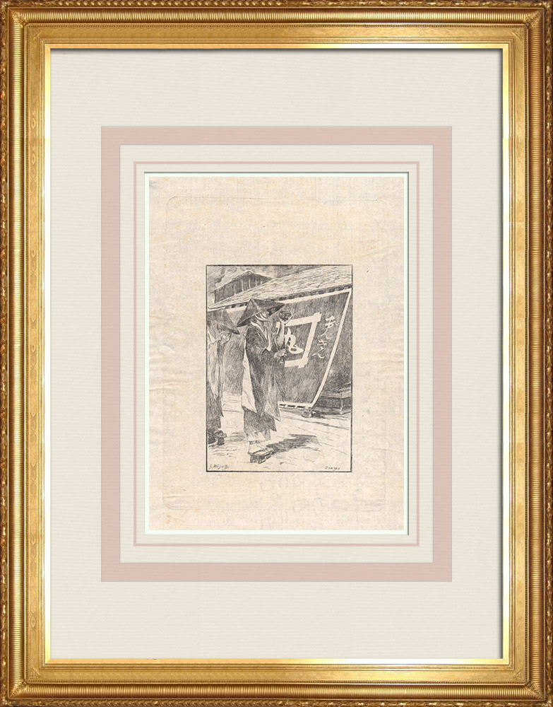 Antika Tryck & Ritningar | En Bonze (Japan) | Etsning | 1886