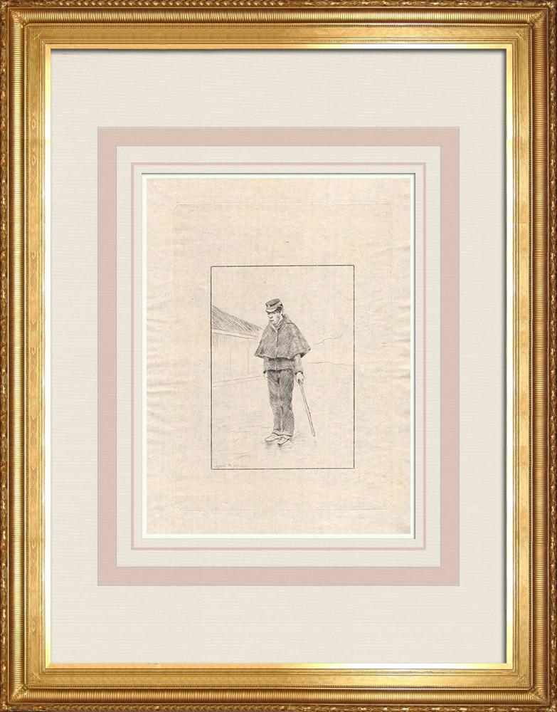 Grabados & Dibujos Antiguos | Un agente de Policía (Japón) | Grabado al aguafuerte | 1886