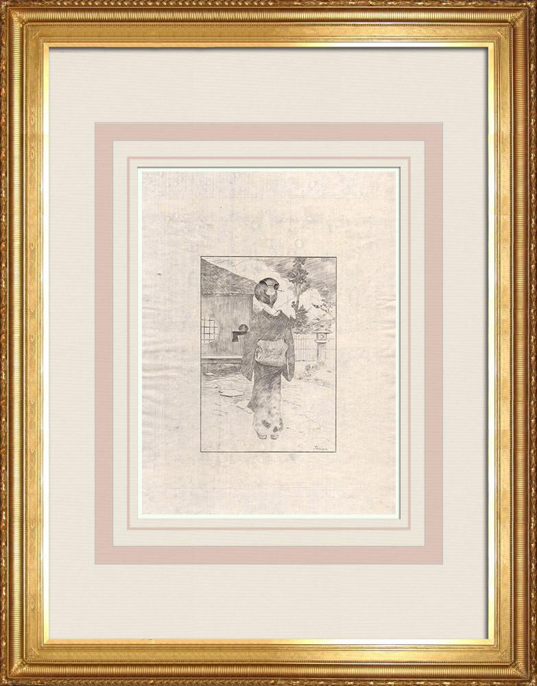 Grabados & Dibujos Antiguos | Una servianta japonesa (Japón) | Grabado al aguafuerte | 1886