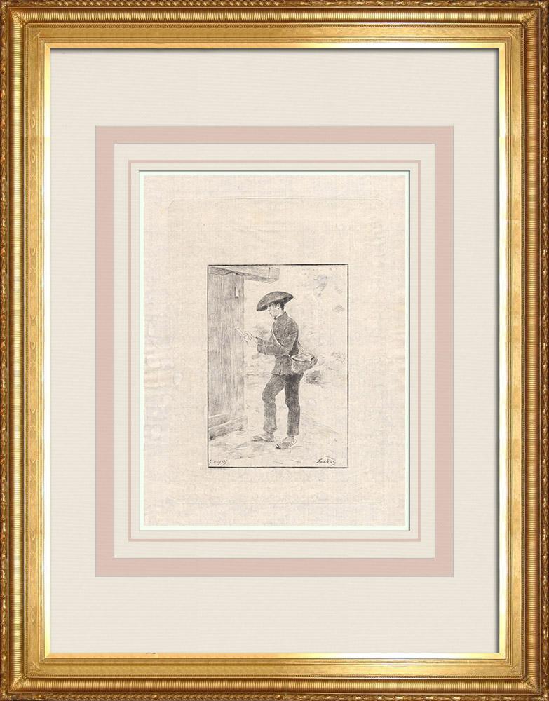 Antique Print & Etching | Ein Japanischer Zusteller (Japan) | Ätzradierung | 1886