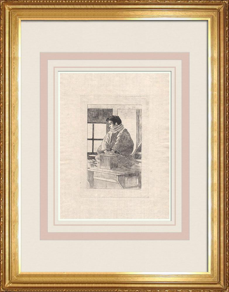 Grabados & Dibujos Antiguos | Un hombre japonés sentado frente a un brasero (Japón) | Grabado al aguafuerte | 1886