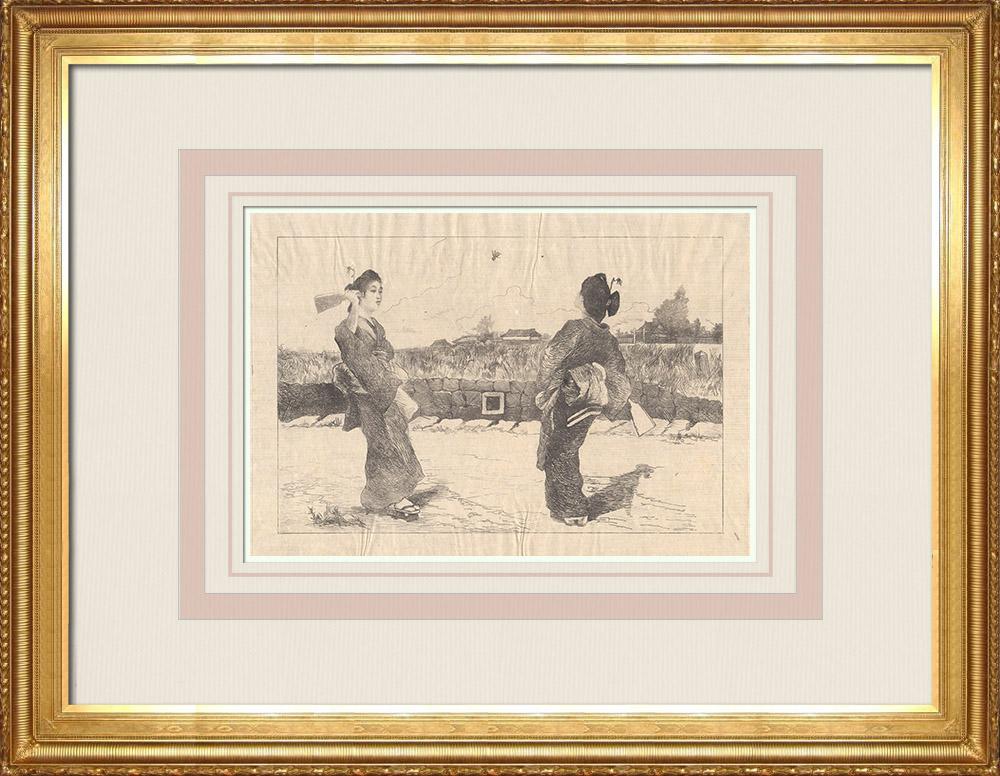Antika Tryck & Ritningar | Två japanska flickor som spelar vid Fjäderboll (Japan) | Etsning | 1886