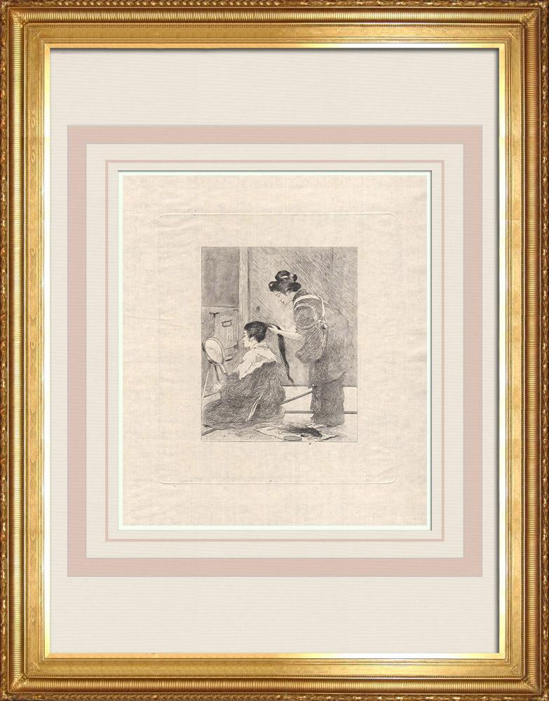 Antique Print & Etching   Eine Japanerin beim Friseur (Japan)   Ätzradierung   1886