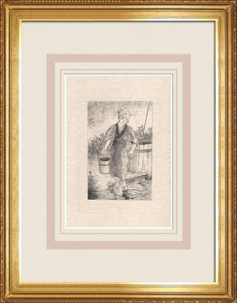 Antique Print & Etching | Eine junge Frau trägt einen Eimer Wasser (Japan) | Ätzradierung | 1886