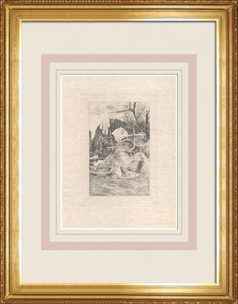 Antique Print & Etching | Eine japanische Frau, die Wäsche wäscht (Japan) | Ätzradierung | 1886