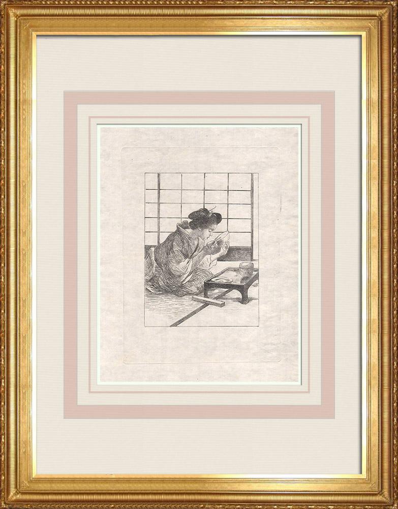 Stampe Antiche & Disegni | Una donna giapponese che mangia (Giappone) | Acquaforte | 1886