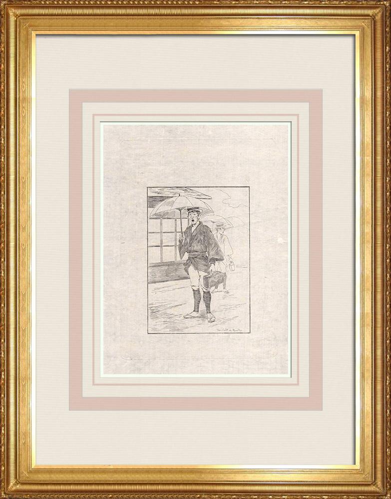 Antique Print & Etching | Ein Medizinhändler (Japan) | Ätzradierung | 1886