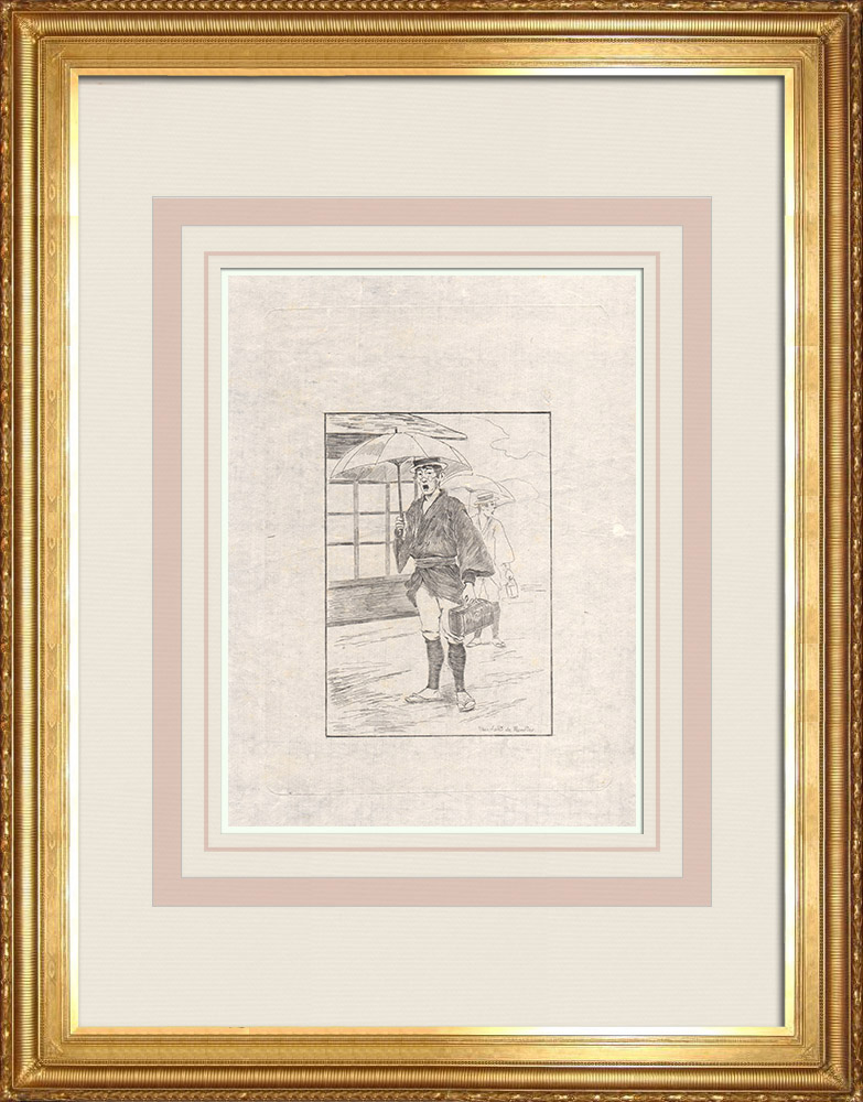 Antika Tryck & Ritningar | En medicinhandlare (Japan) | Etsning | 1886