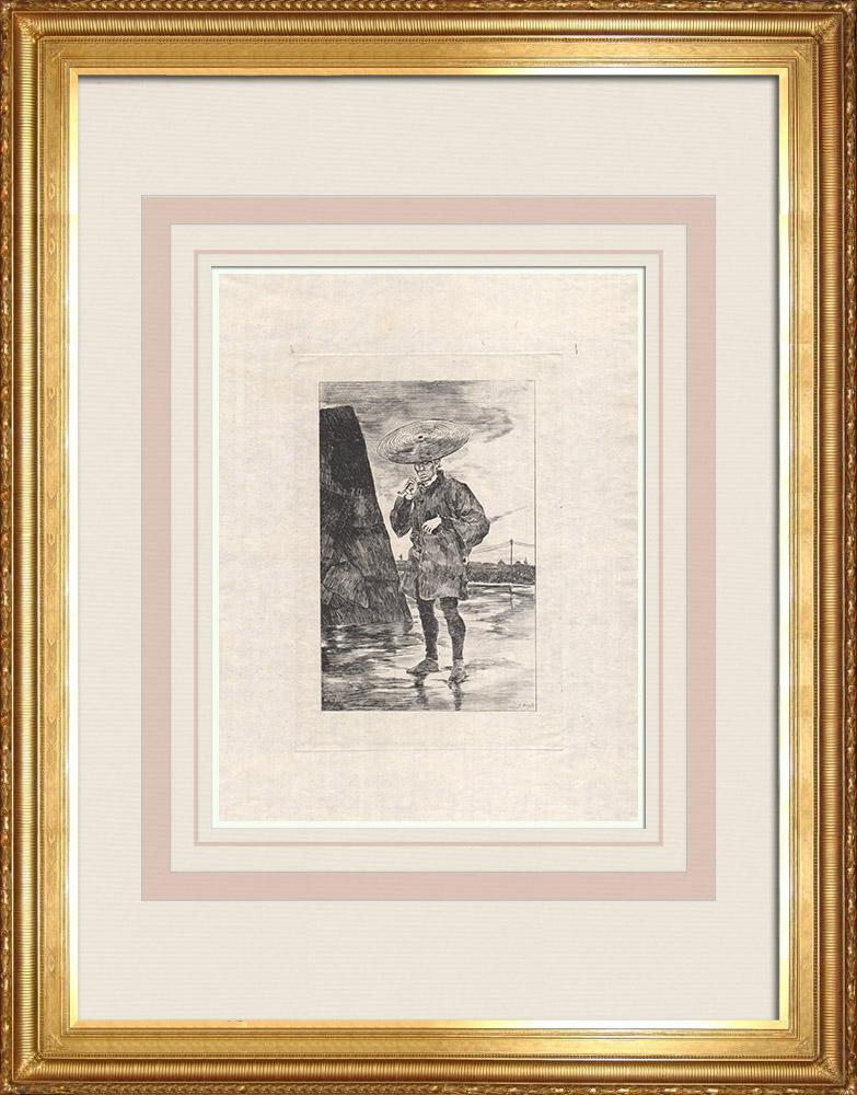 Grabados & Dibujos Antiguos | Un hombre fumando en ropa de lluvia (Japón) | Grabado al aguafuerte | 1886