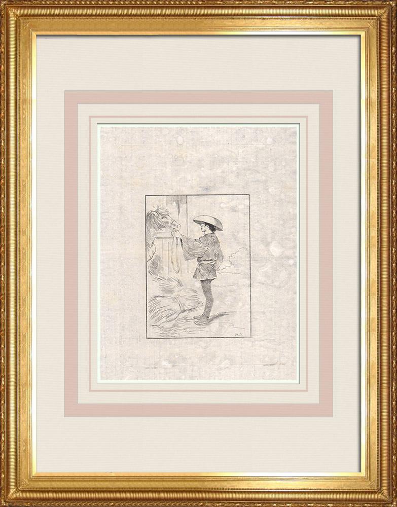 Grabados & Dibujos Antiguos | Un palafrenero y su caballo (Japón) | Grabado al aguafuerte | 1886