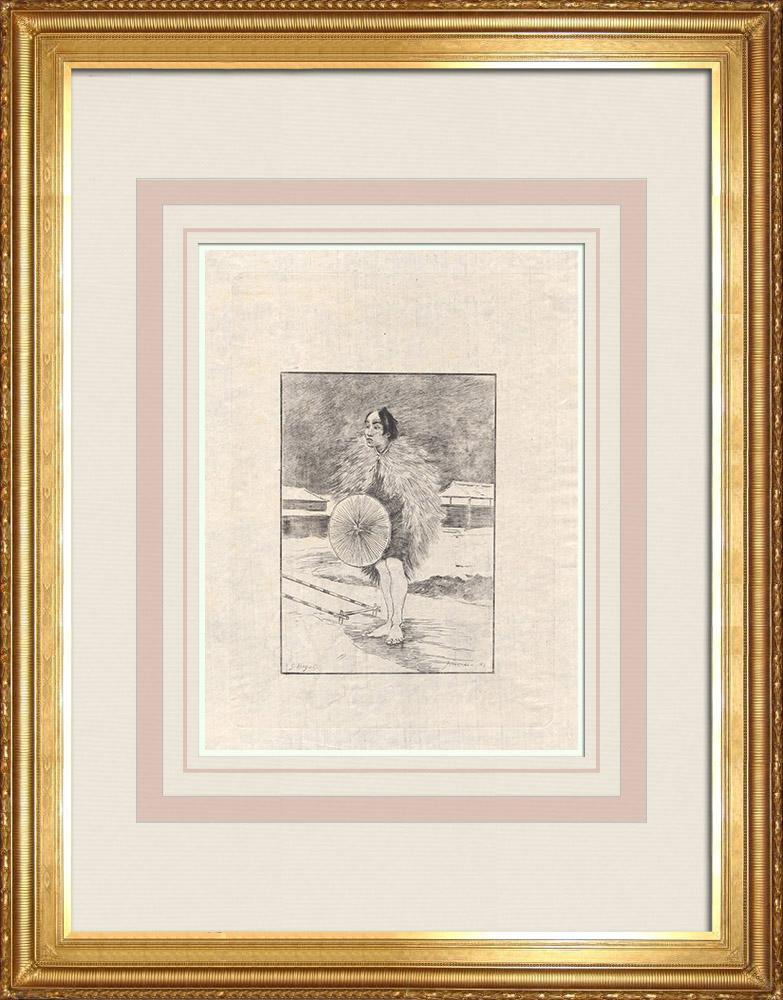 Grabados & Dibujos Antiguos | Un rickshaw (Japón) | Grabado al aguafuerte | 1886