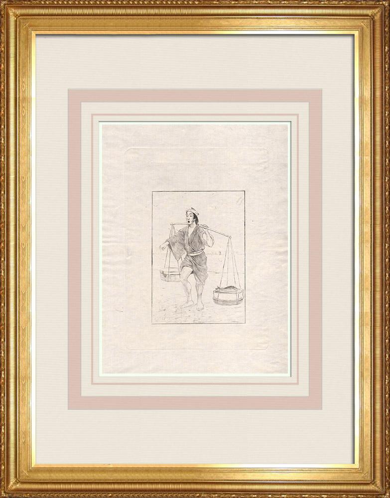 Antika Tryck & Ritningar | En fiskhandlare (Japan)  | Etsning | 1886