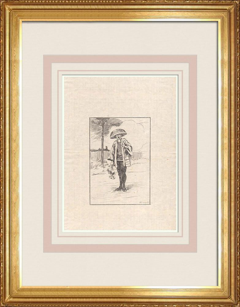 Stampe Antiche & Disegni | Un commerciante di scarpe - Geta (Giappone)  | Acquaforte | 1886