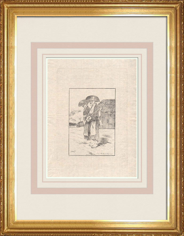 Antique Prints & Drawings | Two street singers (Japan) | Strong water etching | 1886